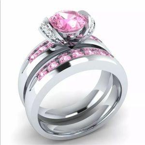 Pink stone 2 pc bridal set ring